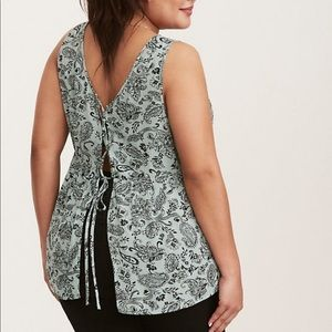 Torrid Lace up open back Babydoll top
